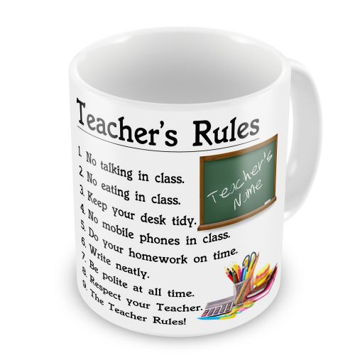 Personalised Teacher's Rules Any Name Novelty Gift Mug